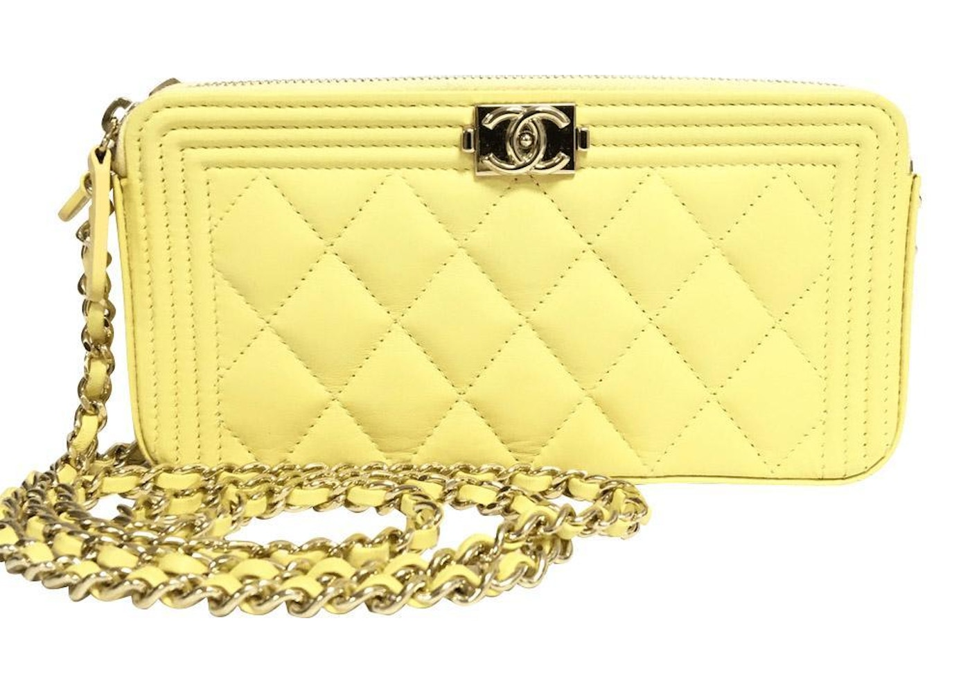 4d7be6bddb3f Chanel Boy Clutch with Chain Quilted Yellow. Quilted Yellow