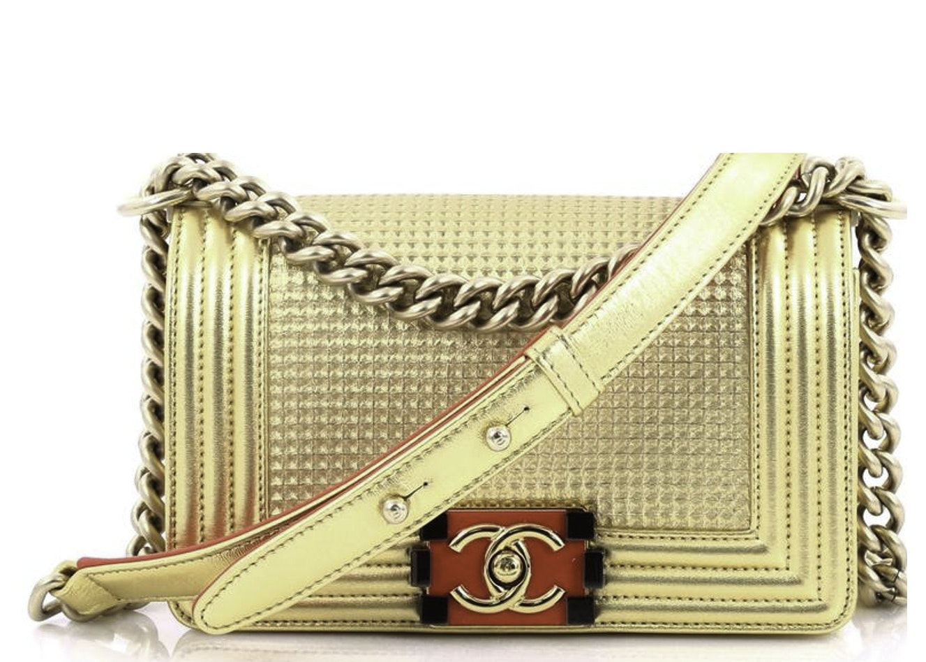 Chanel Boy Flap Bag Cube Embossed Small Gold