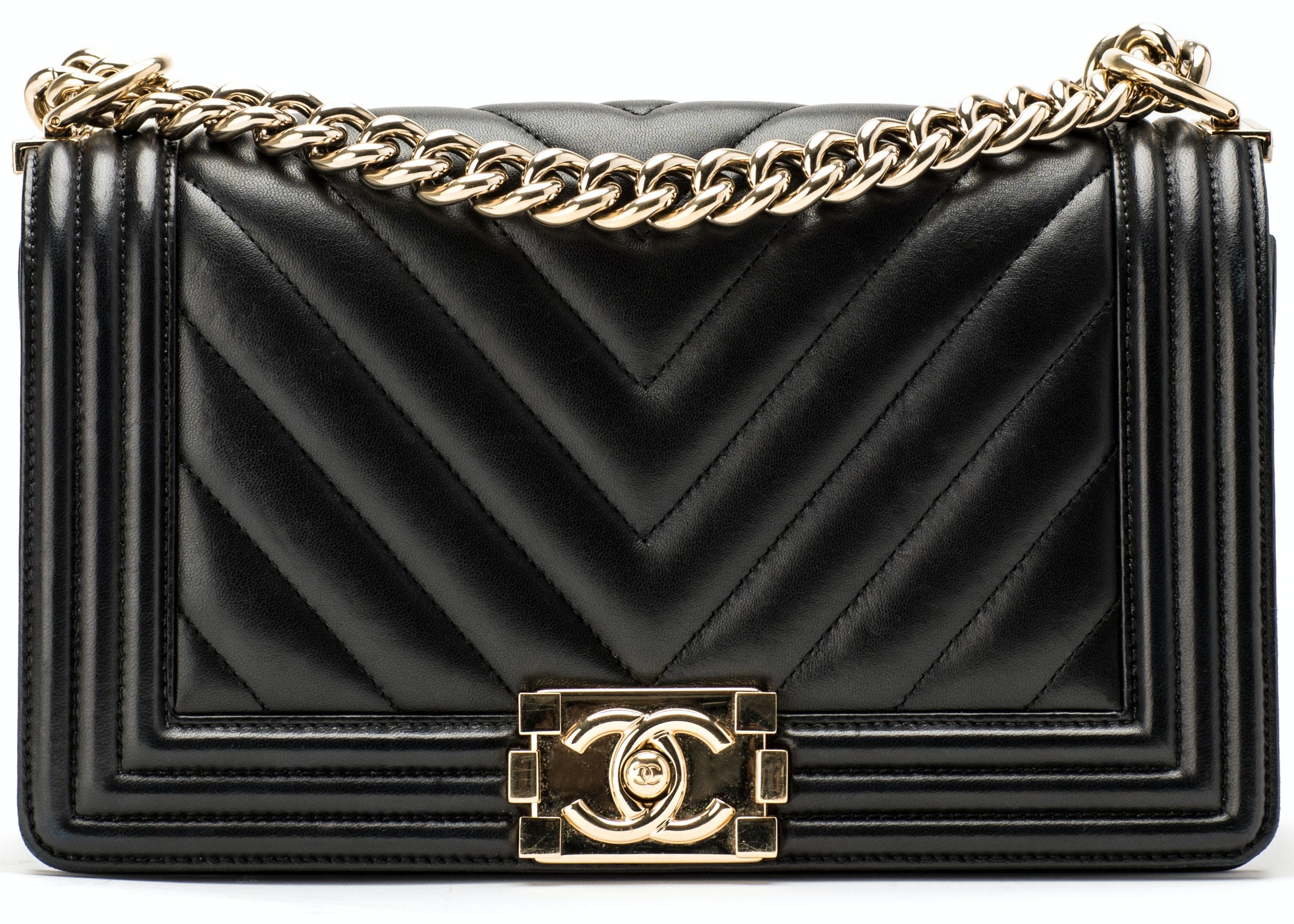 Chanel Boy Flap Chevron Quilted Medium Black