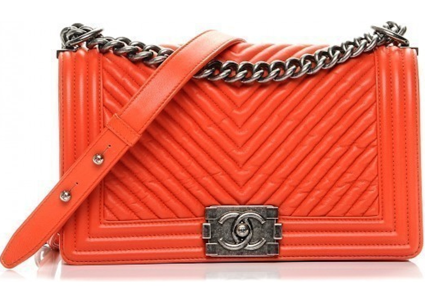 2c7efed474ec Sell. or Ask. View All Bids. Chanel Boy Flap Chevron Quilted Wrinkled Medium  Orange