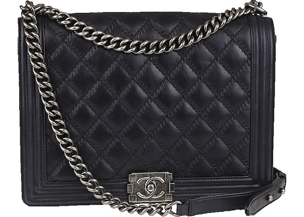86f605b209b2 Chanel Boy Flap Double Stitch Quilted Large Black