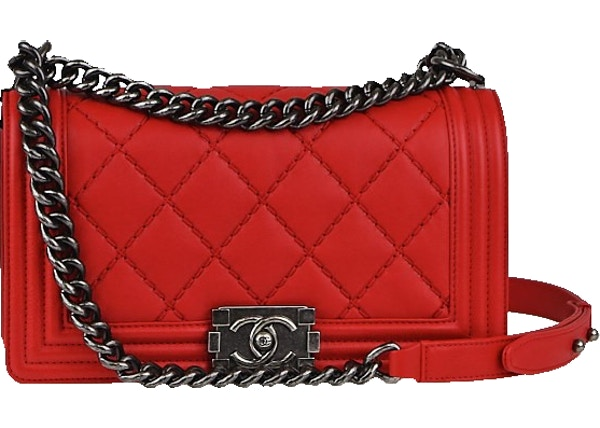 e6e2ec1479ae Chanel Boy Flap Double Stitch Quilted Medium Red