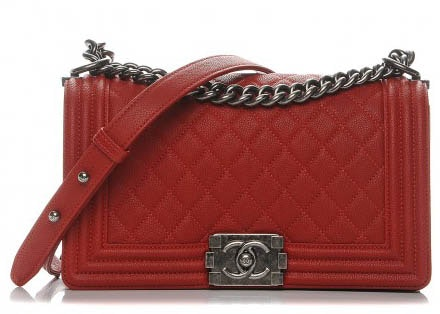 Chanel Boy Flap Quilted Medium Red