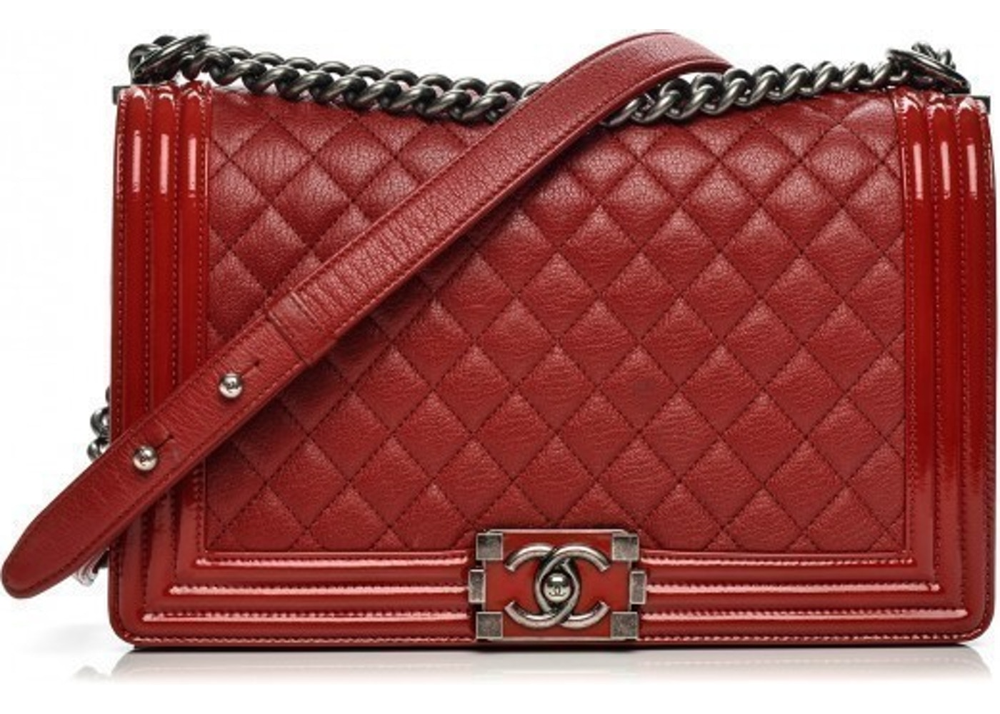 cc35a862a596 Chanel Boy Flap Quilted Patent New Medium Red. Quilted Patent New Medium Red