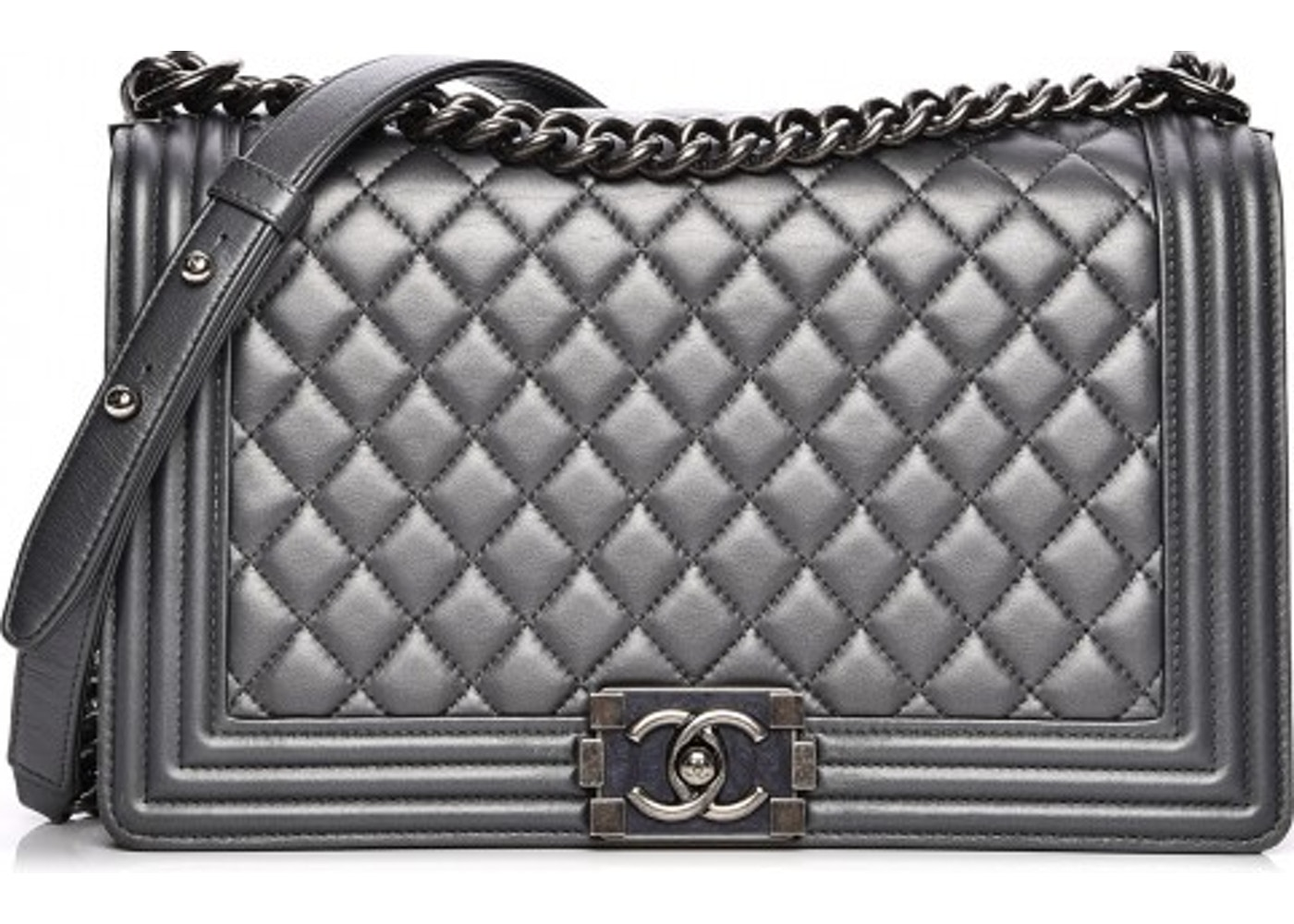 859601bdceed Chanel Boy Flap Quilted Metallic New Medium Dark Silver. Quilted Metallic  New Medium Dark Silver