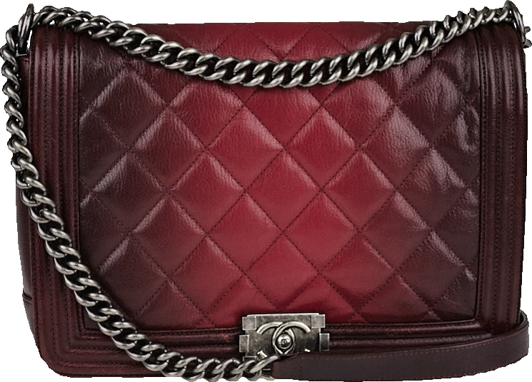 Chanel Boy Flap Ombre Quilted Large Red/Plum