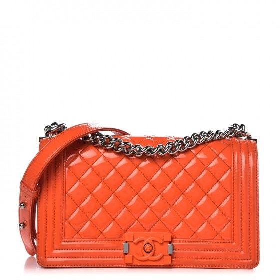 Chanel Boy Flap Plexiglas Cc Quilted Medium Orange