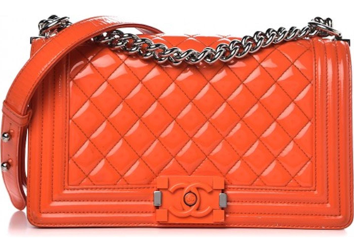 7a9a64831f5a Chanel Boy Flap Plexiglas Cc Quilted Medium Orange