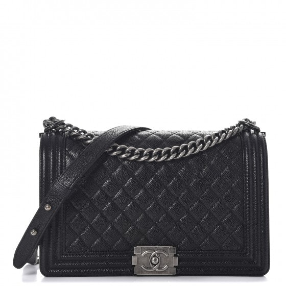 Chanel Boy Flap Quilted Caviar Diamond New Medium Black