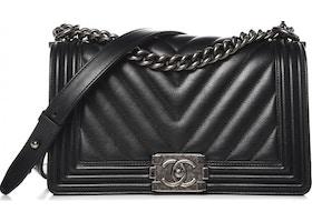 f88f279bae56 Chanel Boy Flap Chevron Quilted Medium Black