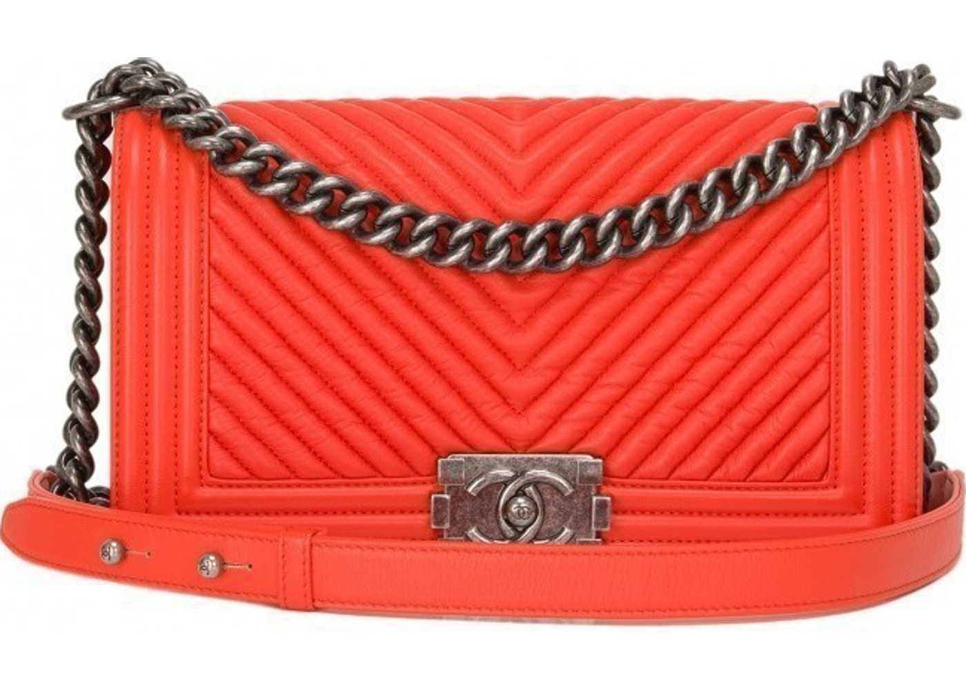 4f462ea1c087 Sell. or Ask. View All Bids. Chanel Boy Flap Quilted Chevron Medium Orange