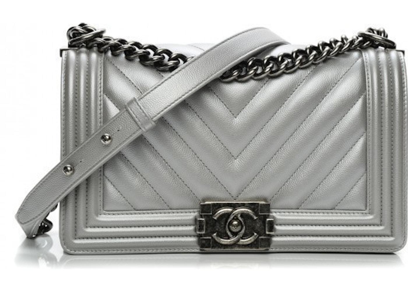 87d5a7542567f0 Chanel Boy Flap Chevron Quilted Metallic Medium Silver