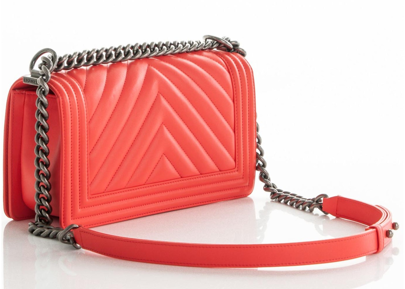 d5f59db1f745 Chanel Boy Flap Chevron Quilted Quilted Medium Neon Coral Orange
