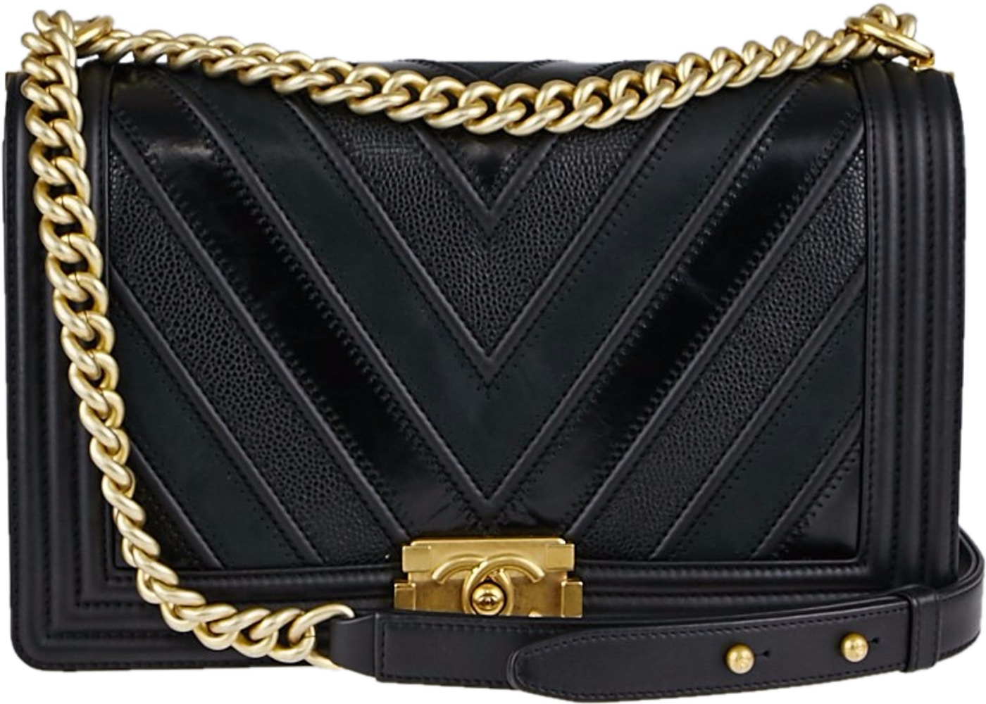 49767f74e83b Sell. or Ask. View All Bids. Chanel Boy Flap Quilted Chevron New Medium  Black