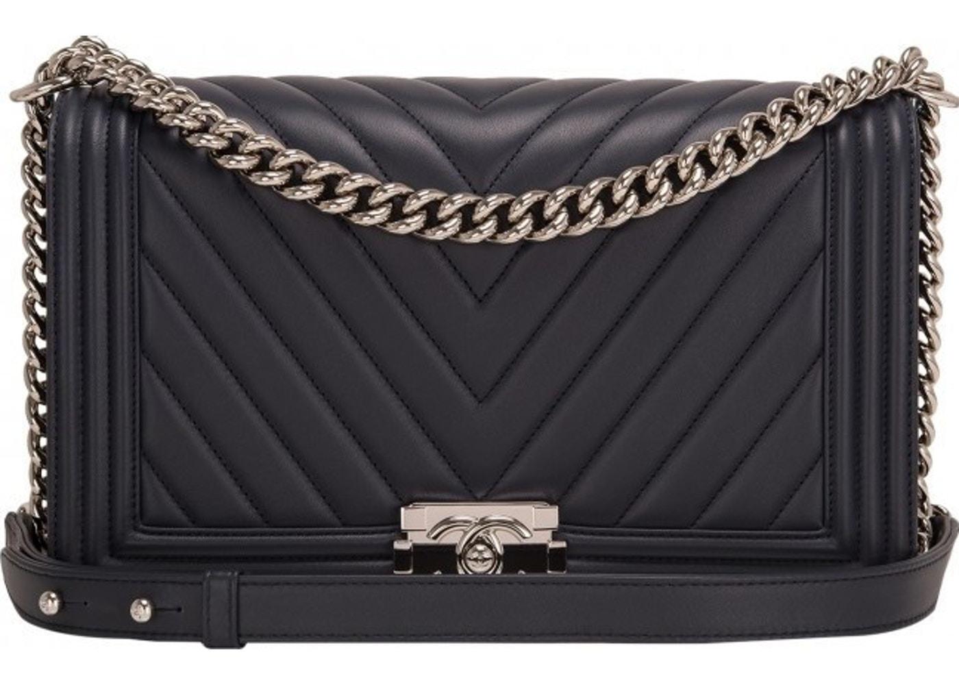 6782daf94177f4 Sell. or Ask. View All Bids. Chanel Boy Flap Chevron Quilted New Medium Navy
