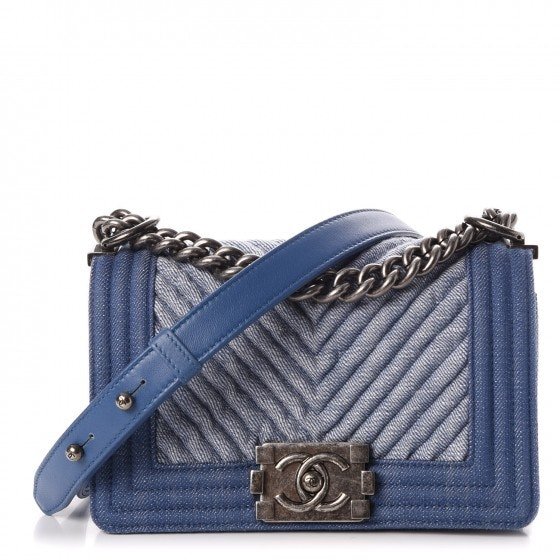 Chanel Boy Flap Quilted Chevron Small Light Blue
