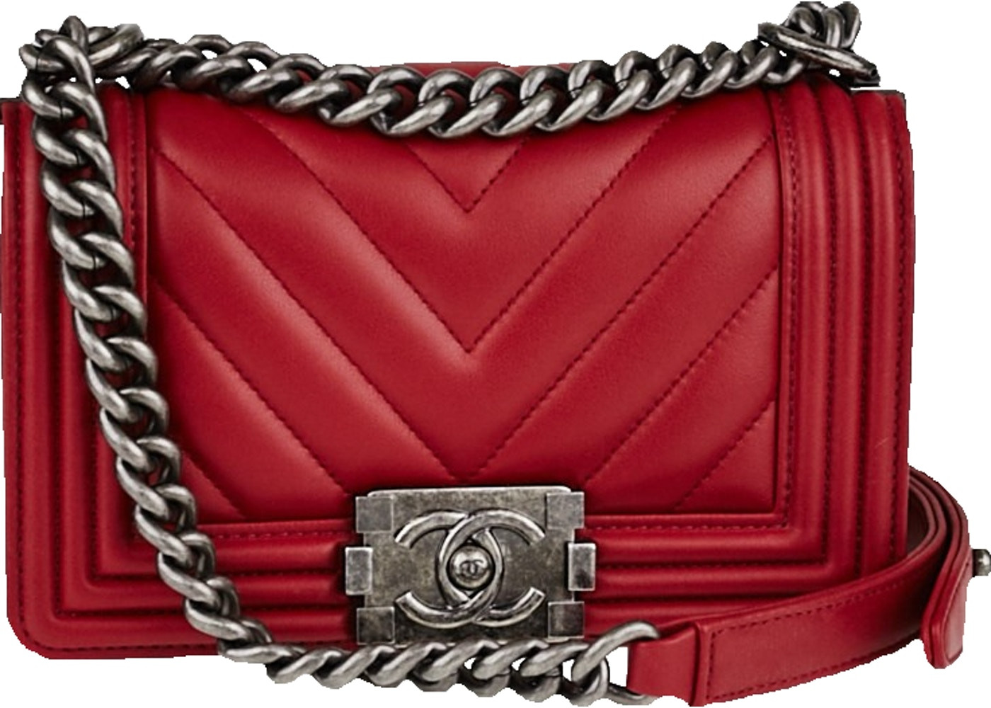ce4abd6a2d281c Sell. or Ask. View All Bids. Chanel Boy Flap Quilted Chevron small Red