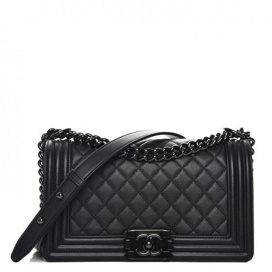 Chanel Boy Flap Quilted Diamond Calfskin Medium Black
