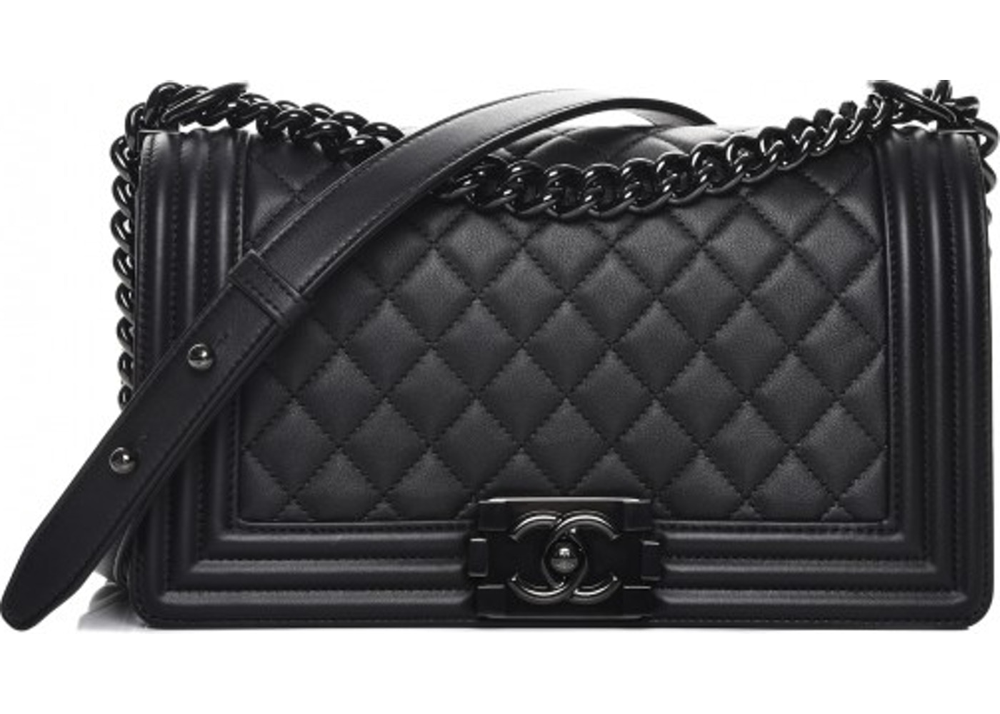 e6c57c819482 Chanel Boy Flap Quilted Diamond Calfskin Medium So Black. Quilted Diamond  Calfskin Medium So Black