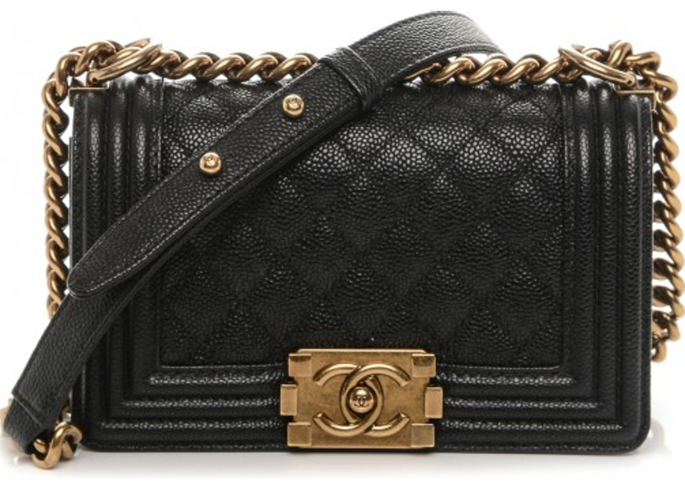 964b5fa55a9cfc Chanel Boy Flap Quilted Diamond Caviar Small Black. Quilted Diamond Caviar  Small Black