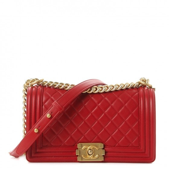 Chanel Boy Flap Quilted Diamond Medium Red