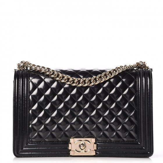 Chanel Boy Flap Quilted Diamond Patent Leather/Calfskin New Medium Black