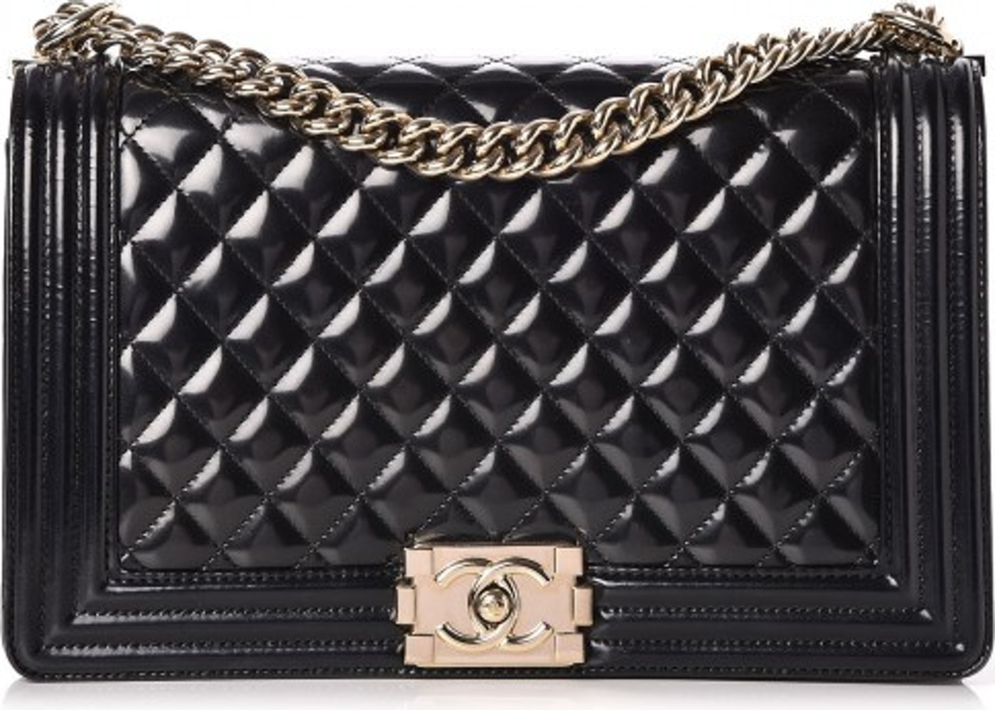 f7b8a599a60540 Chanel Boy Flap Quilted Diamond Patent Leather/Calfskin New ...