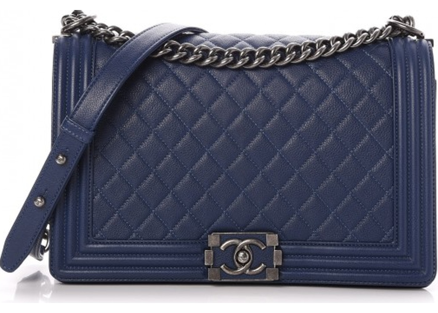 9cd129720a985d Chanel Boy Flap Quilted Grained Calfskin Ruthenium-tone New ...