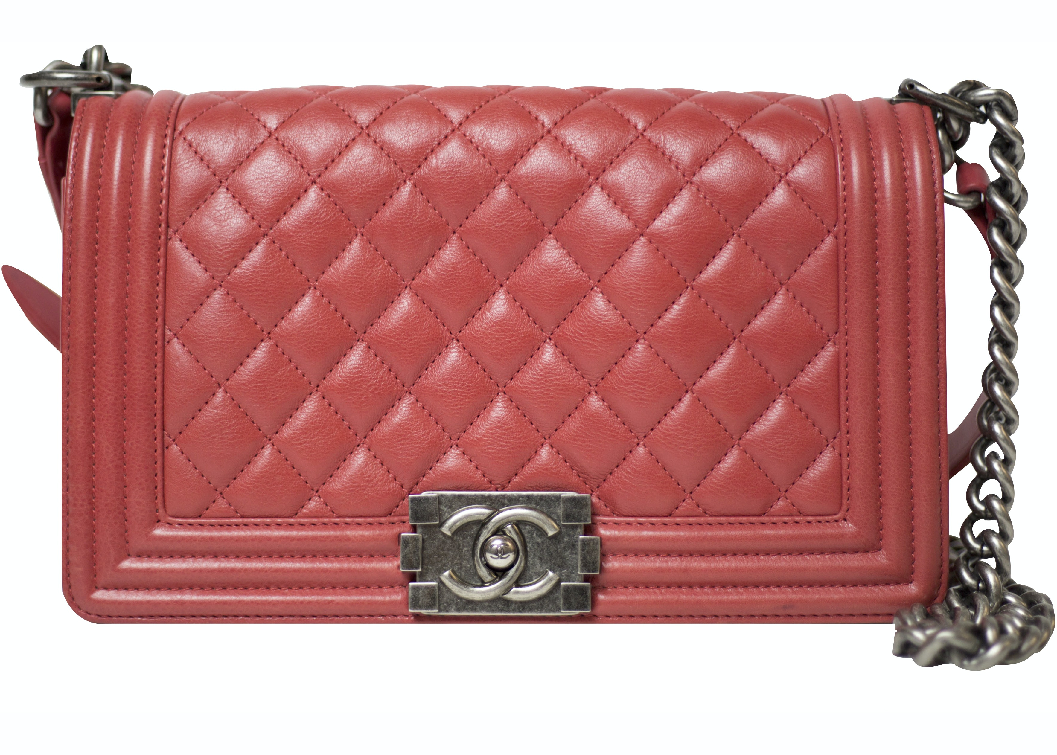 Chanel Boy Flap Quilted Medium Coral