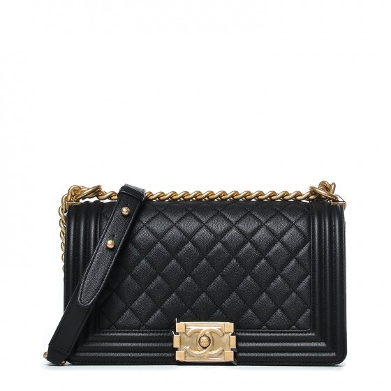 Chanel Boy Flap Caviar Medium Black Aged Gold