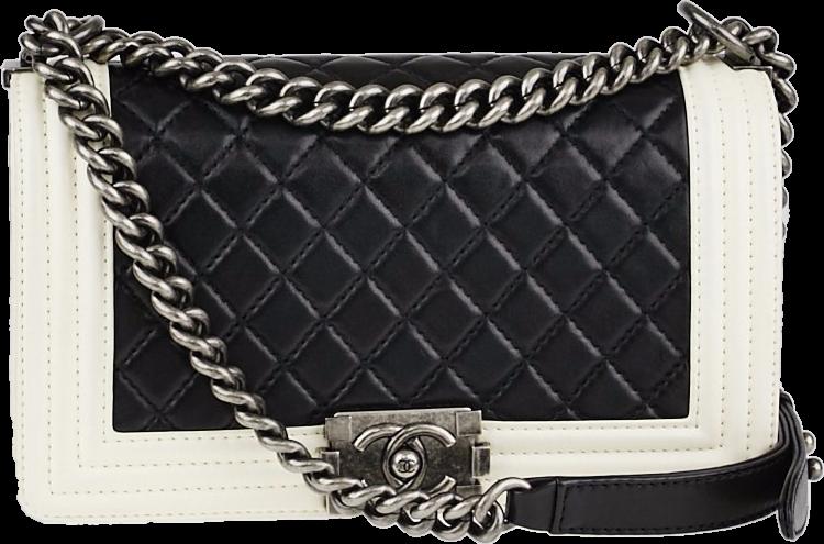 Chanel Boy Flap Quilted Medium Black/White