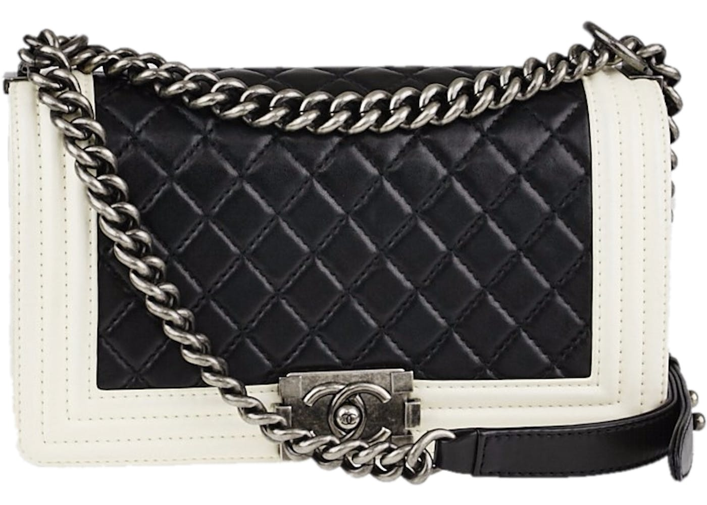 Boy Flap Quilted Medium Black/White : chanel quilted boy flap - Adamdwight.com