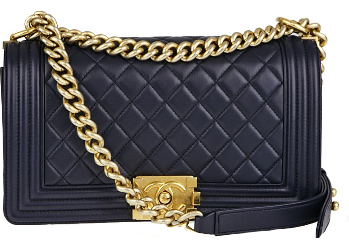 436d07318283 Chanel Boy Flap Quilted Medium Navy Blue