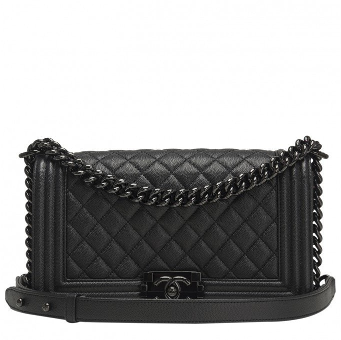 Chanel Boy Flap Quilted Grained Medium Black