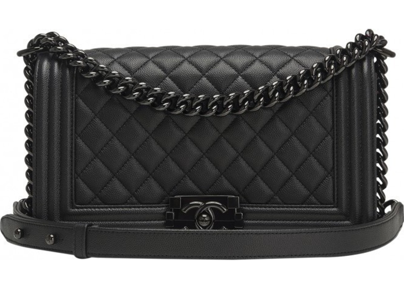 e295839bc01f Sell. or Ask. View All Bids. Chanel Boy Flap Quilted Grained Lambskin Medium  So Black