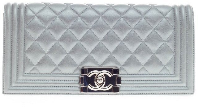 Chanel Boy Flap Quilted Metallic Small Silver