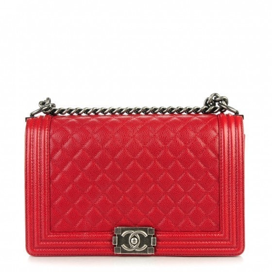 Chanel Boy Flap Quilted New Medium Red Ruthenium