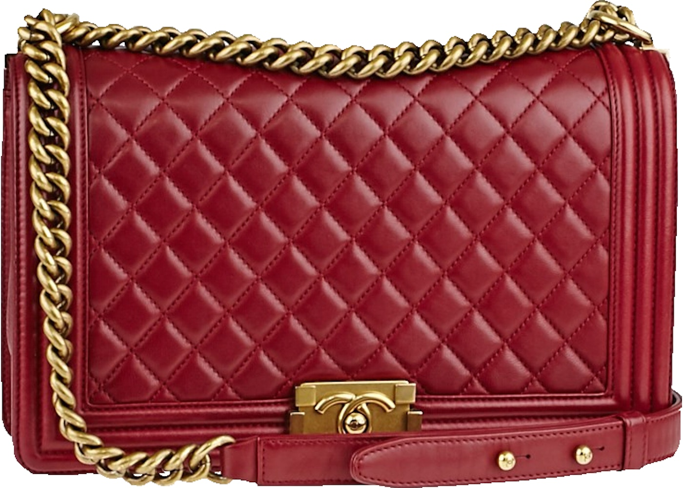 93ae52412ec5 Sell. or Ask. View All Bids. Chanel Boy Flap Quilted New Medium Red Lambskin  ...