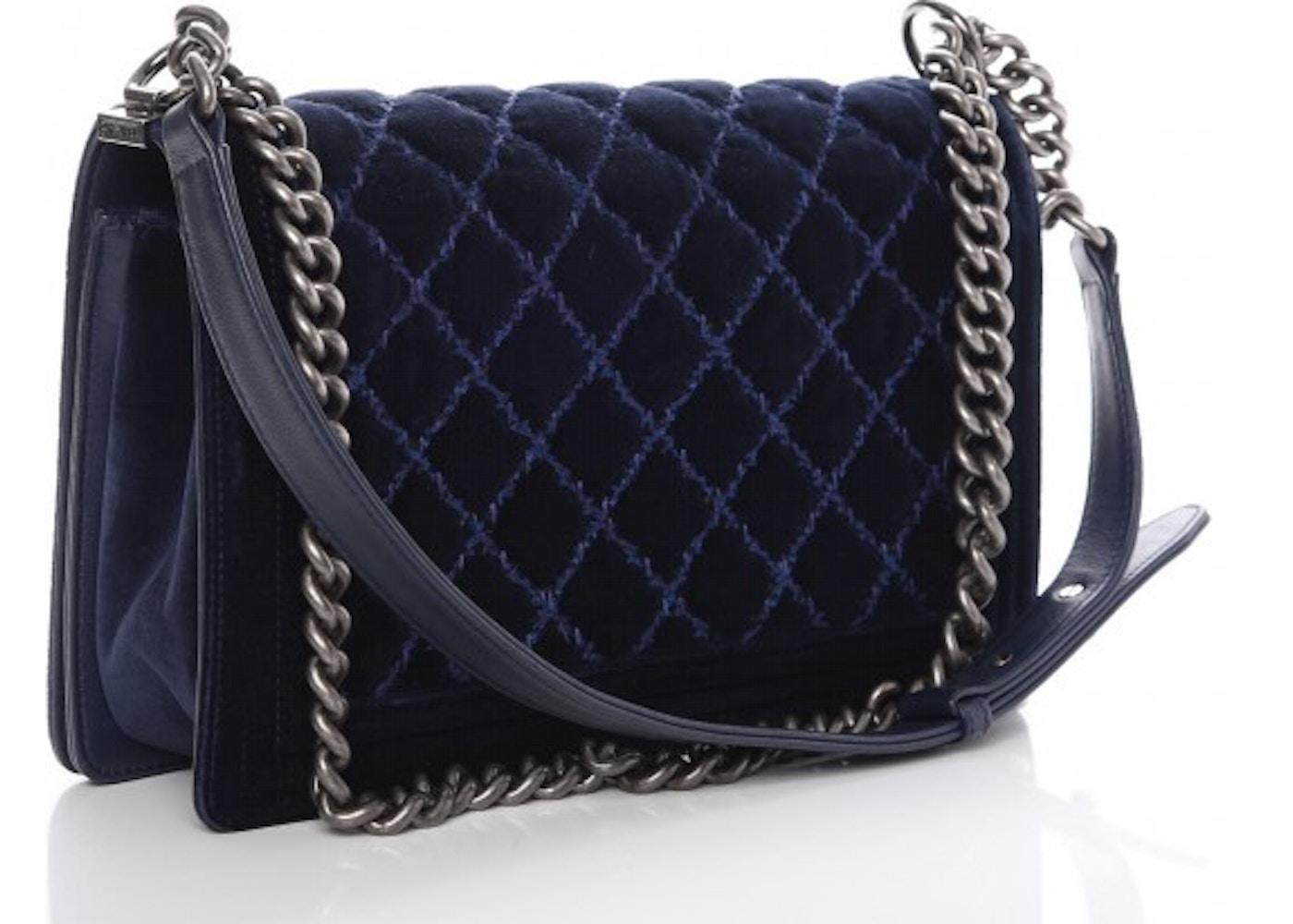 ac5a22404207 Chanel Boy Flap Quilted Velvet Ruthenium-tone New Medium Navy Blue
