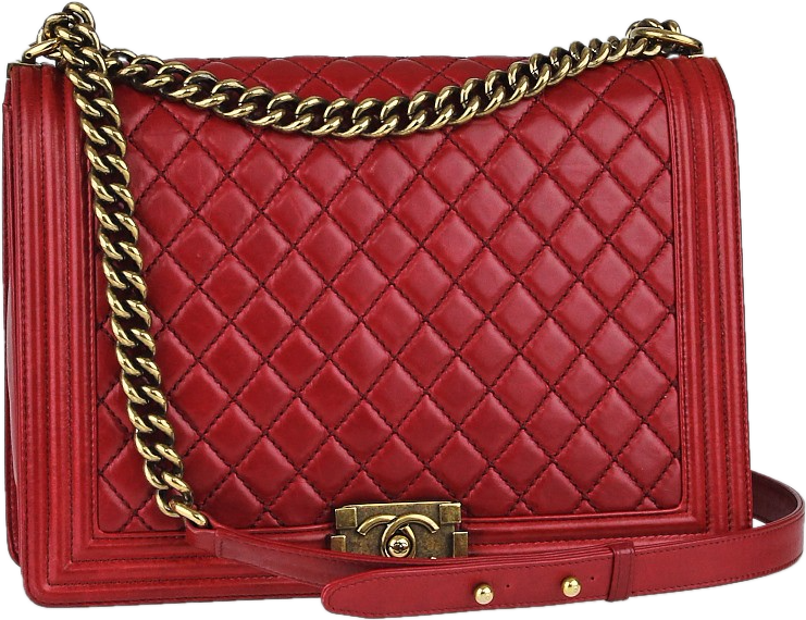 Chanel Boy Flap Quilted large Red