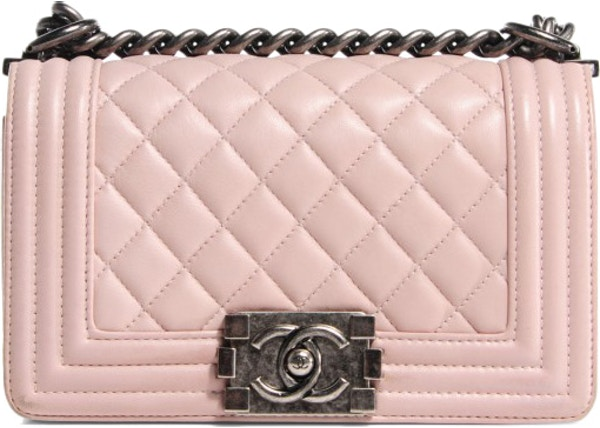 f842ba259f73ba Chanel Boy Flap Shoulder Quilted Diamond Lambskin Small Light Pink
