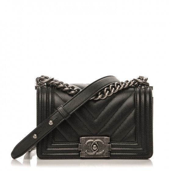 Chanel Boy Flap Chevron Quilted Small Black