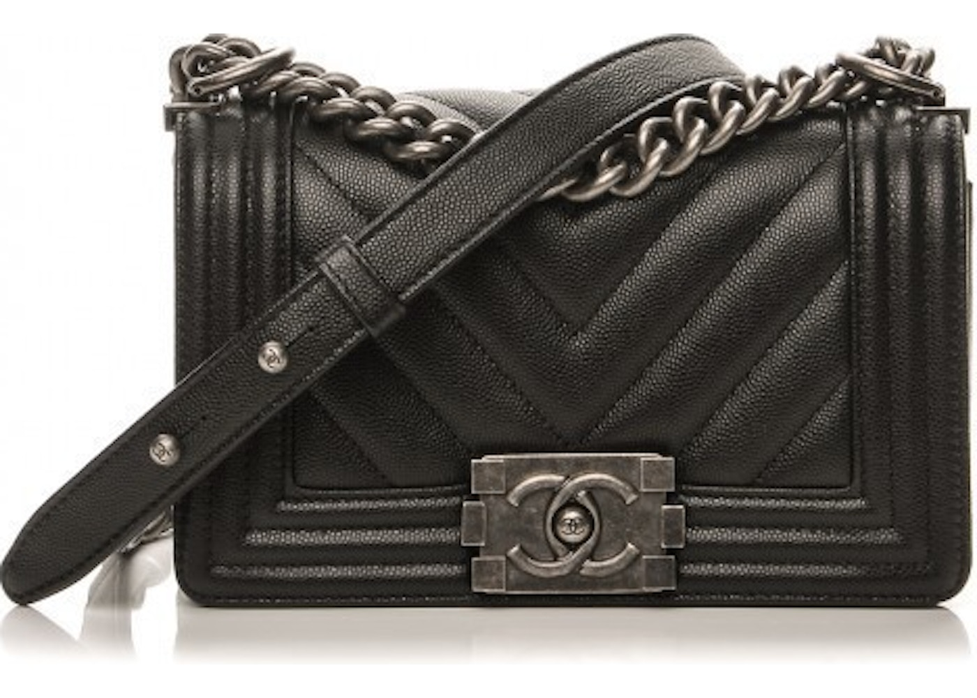 a2cf91fe58374a Chanel Boy Flap Chevron Quilted Small Black