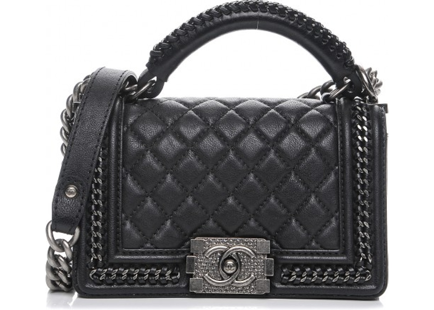 aed862f12943 Chanel Top Handle Boy Bag Flap Diamond Quilted Small Black. Diamond Quilted  Small Black