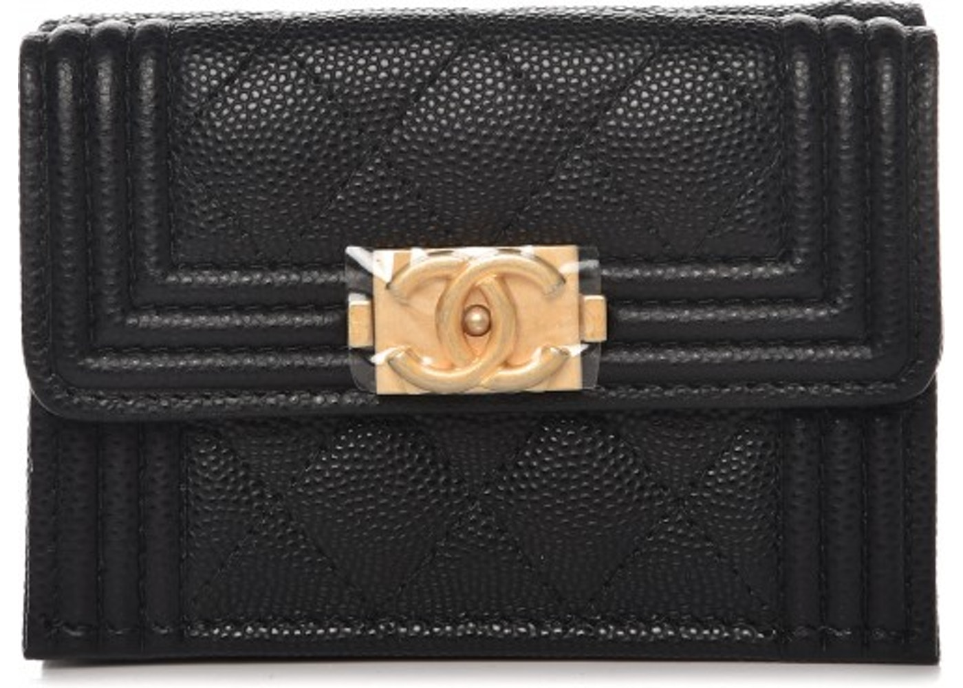 a029d98a7bce Chanel Boy Flap Wallet Quilted Diamond Caviar Small Black. Quilted Diamond  Caviar Small Black