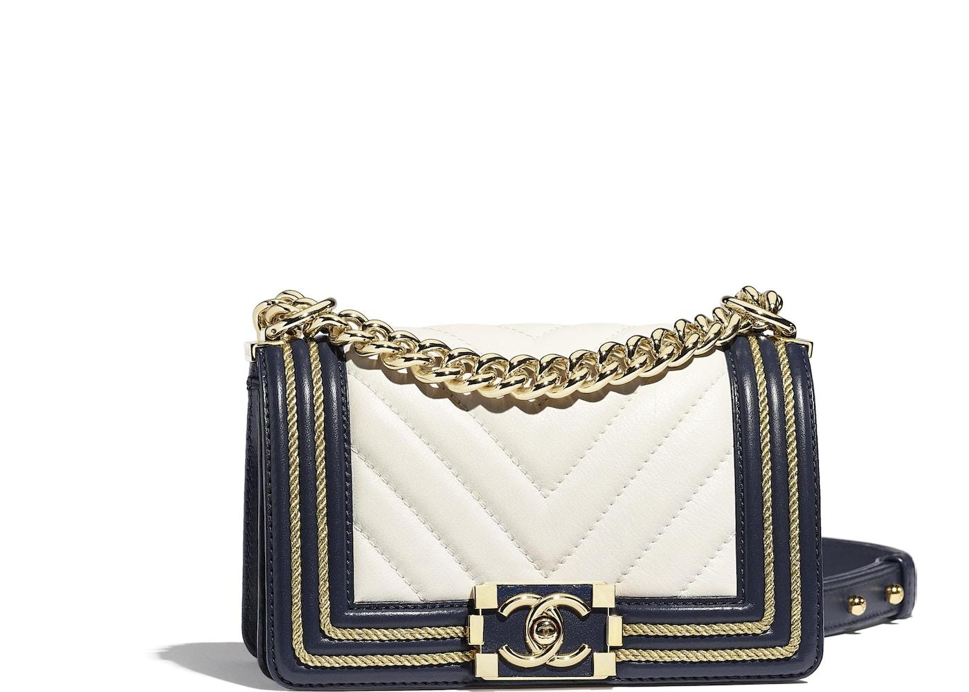 c694be56f17af7 Chanel Boy Handbag Chevron Braid Gold-tone Small White/Navy Blue