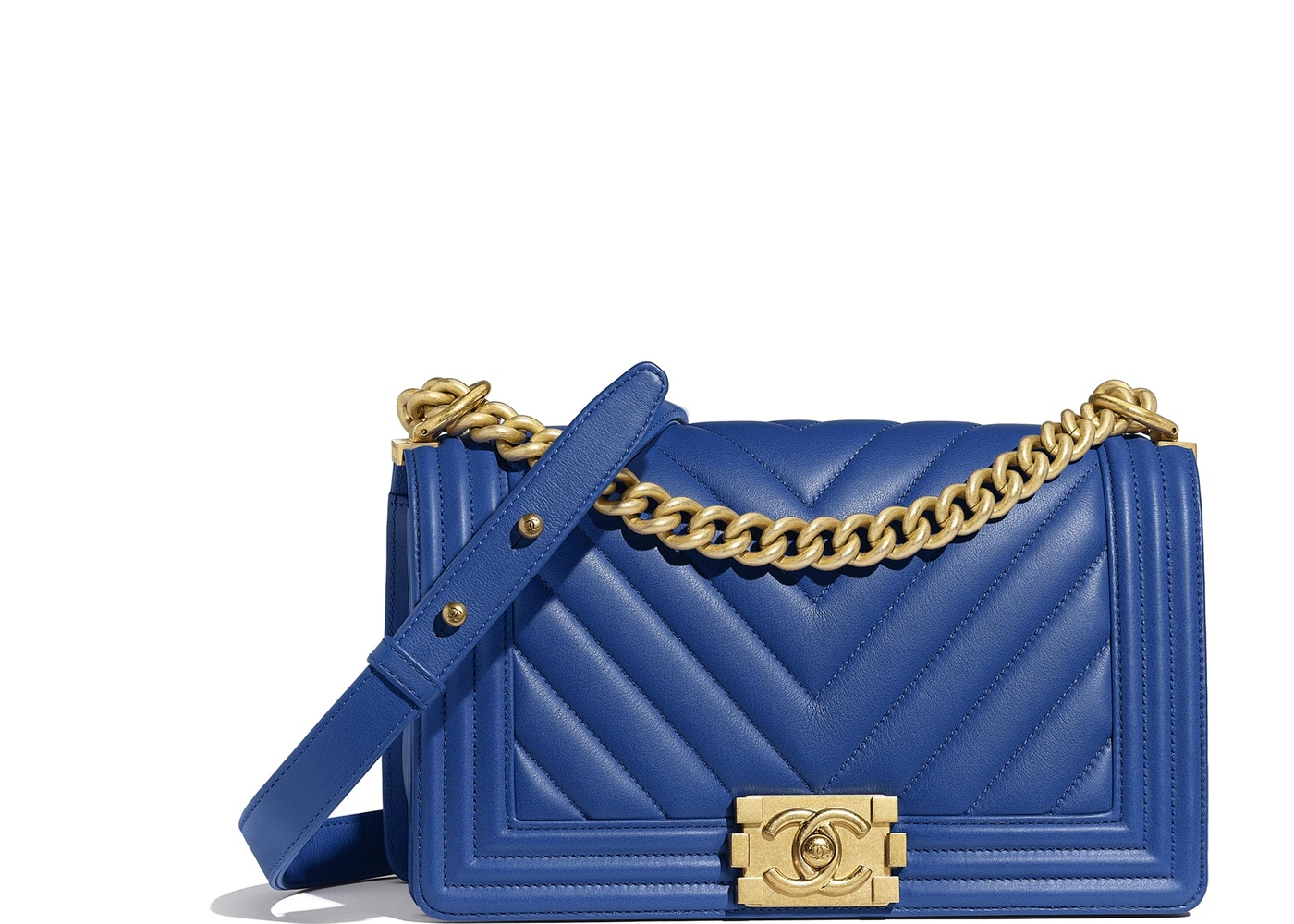 1f220b135d23 Chanel Boy Handbag Chevron Calfskin Gold-tone Dark Blue