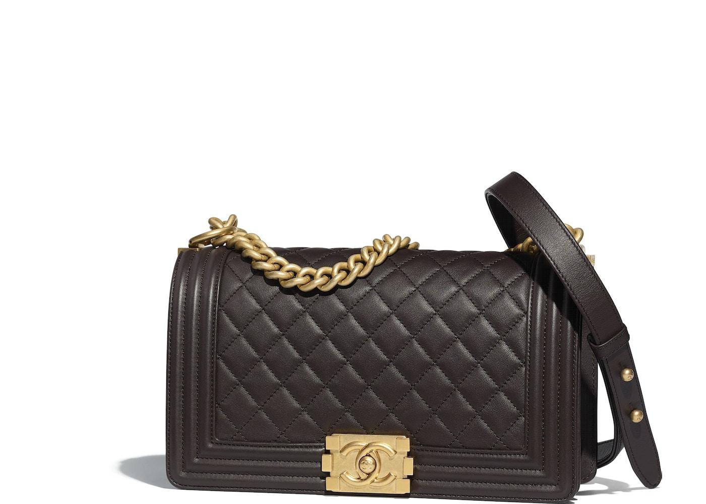 0f58dbf7d37d ... Chanel Boy Handbag Quilted Calfskin Brown