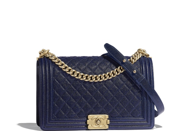 eba306cc0541 Chanel Boy Handbag Quilted Grained Calfskin Gold-tone Large Blue
