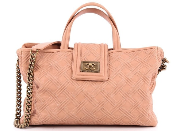 5c24695bbab0 Chanel Boy Shopping Tote Embossed Stitched Large Nude Pink
